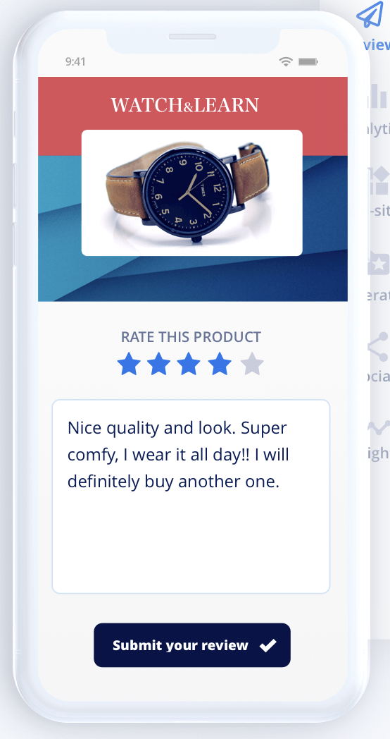 Example of Yotpo's review/rating page