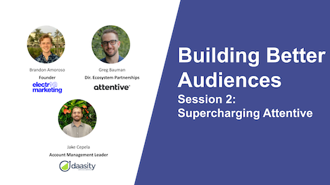 Catch 4 takeaways from an exciting second episode in our webinar series about Daasity Audiences (Feat. Attentive) and how we're changing the eCommerce data landscape with our partners.