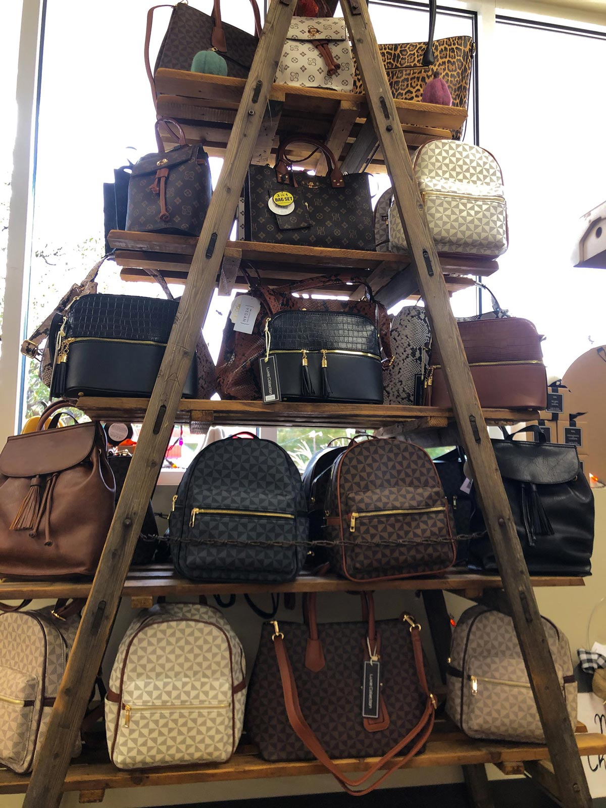 Shelf of different style purses
