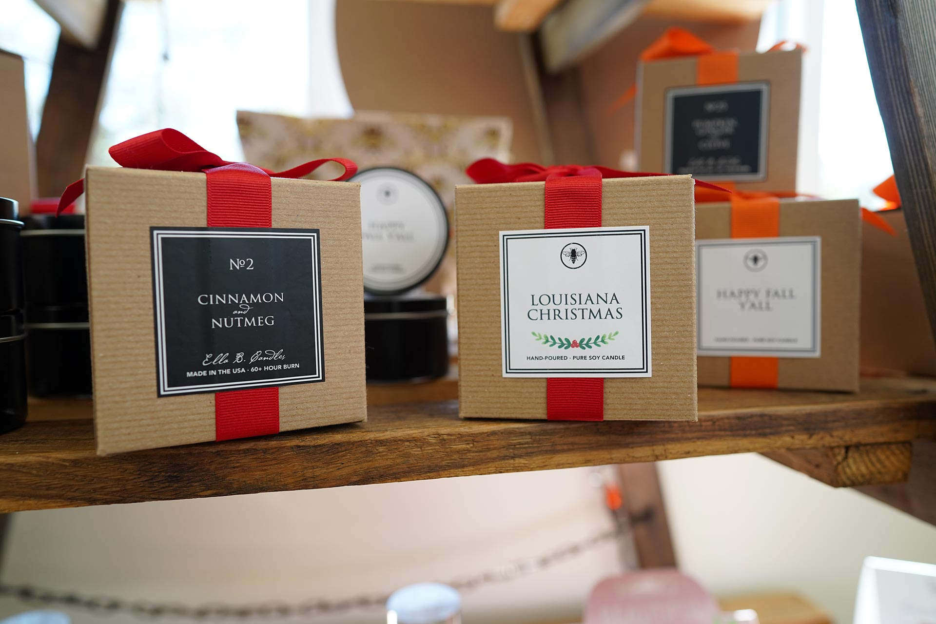 Seasonal Christmas scented and labeled candles