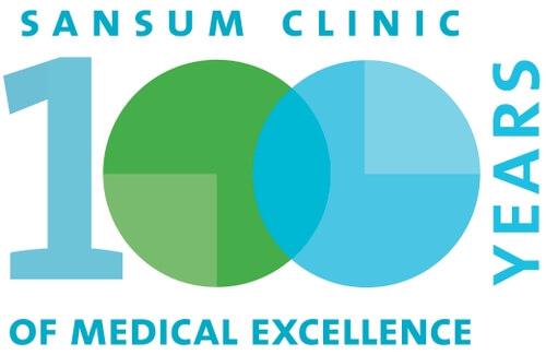 Logo del aniversario de Sansum clinic - 100  años