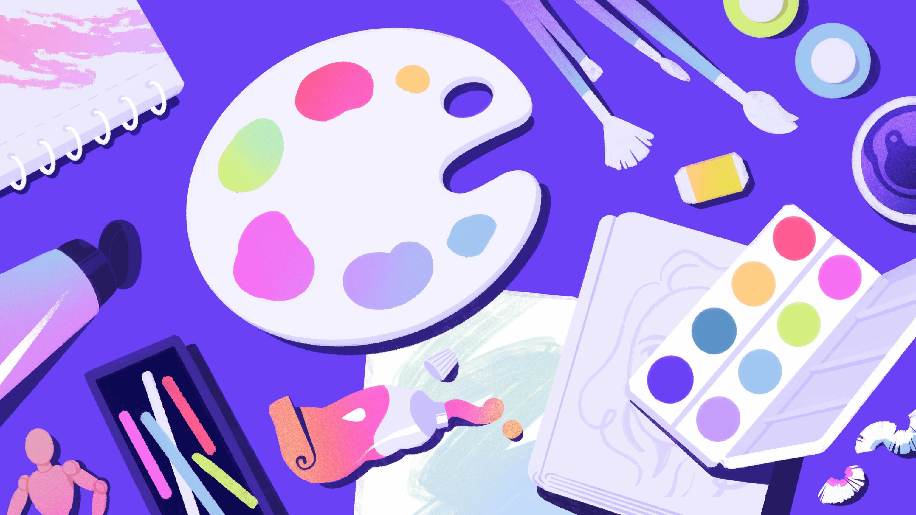 A collection of art supplies