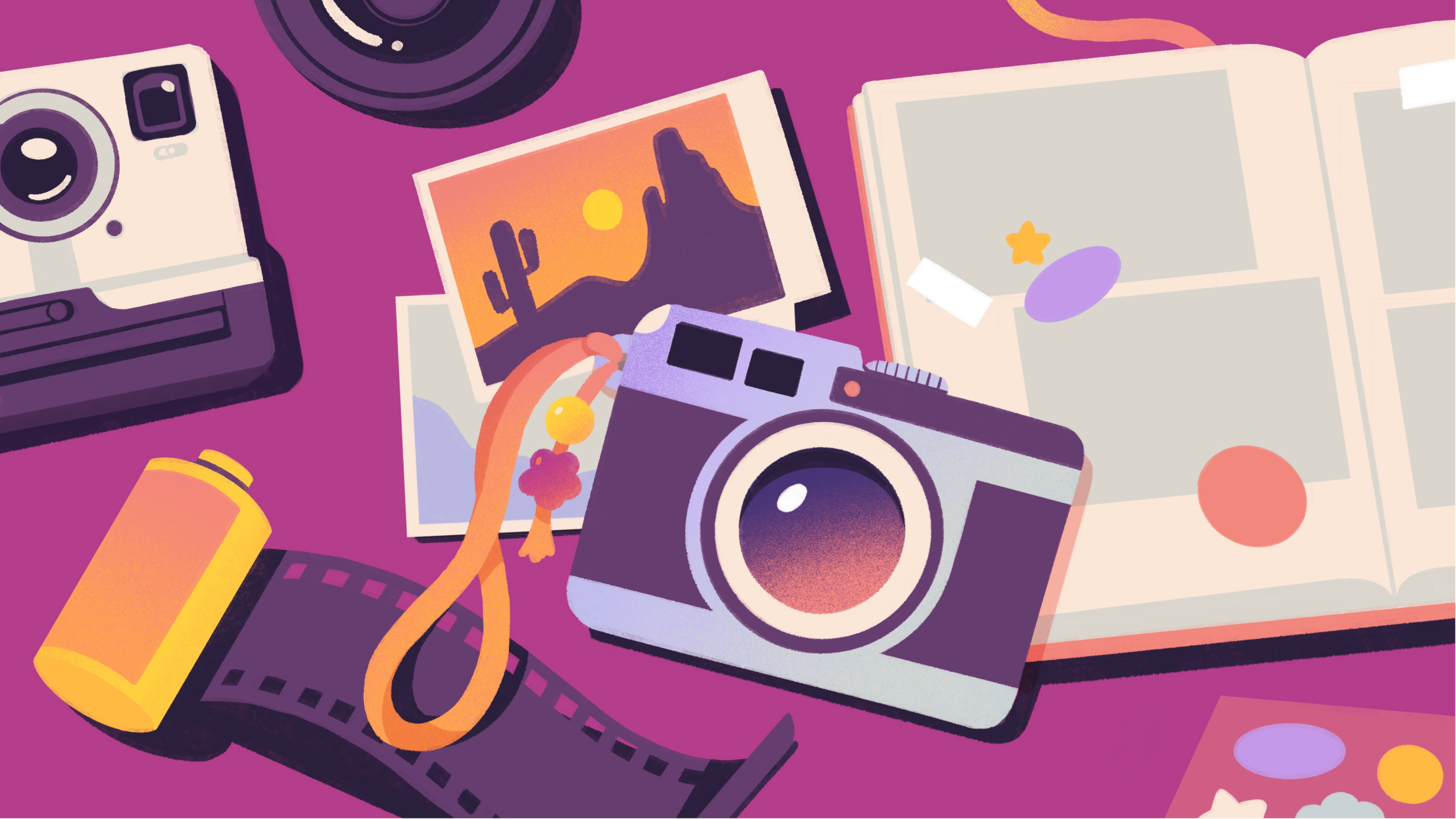 A collection of photography supplies: Cameras, film, photographs, photo book, a lens, stickers