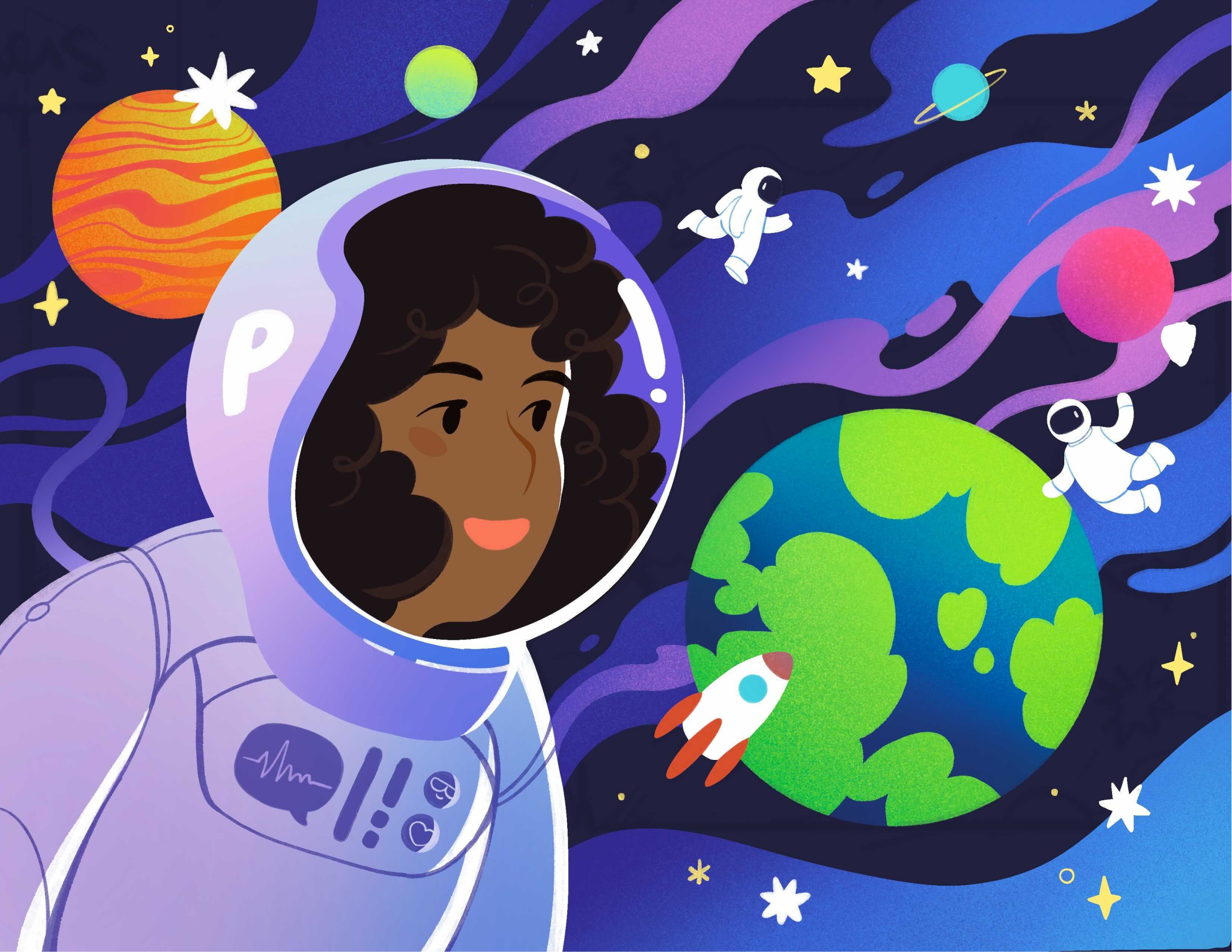 A girl in a space suit looking toward earth.