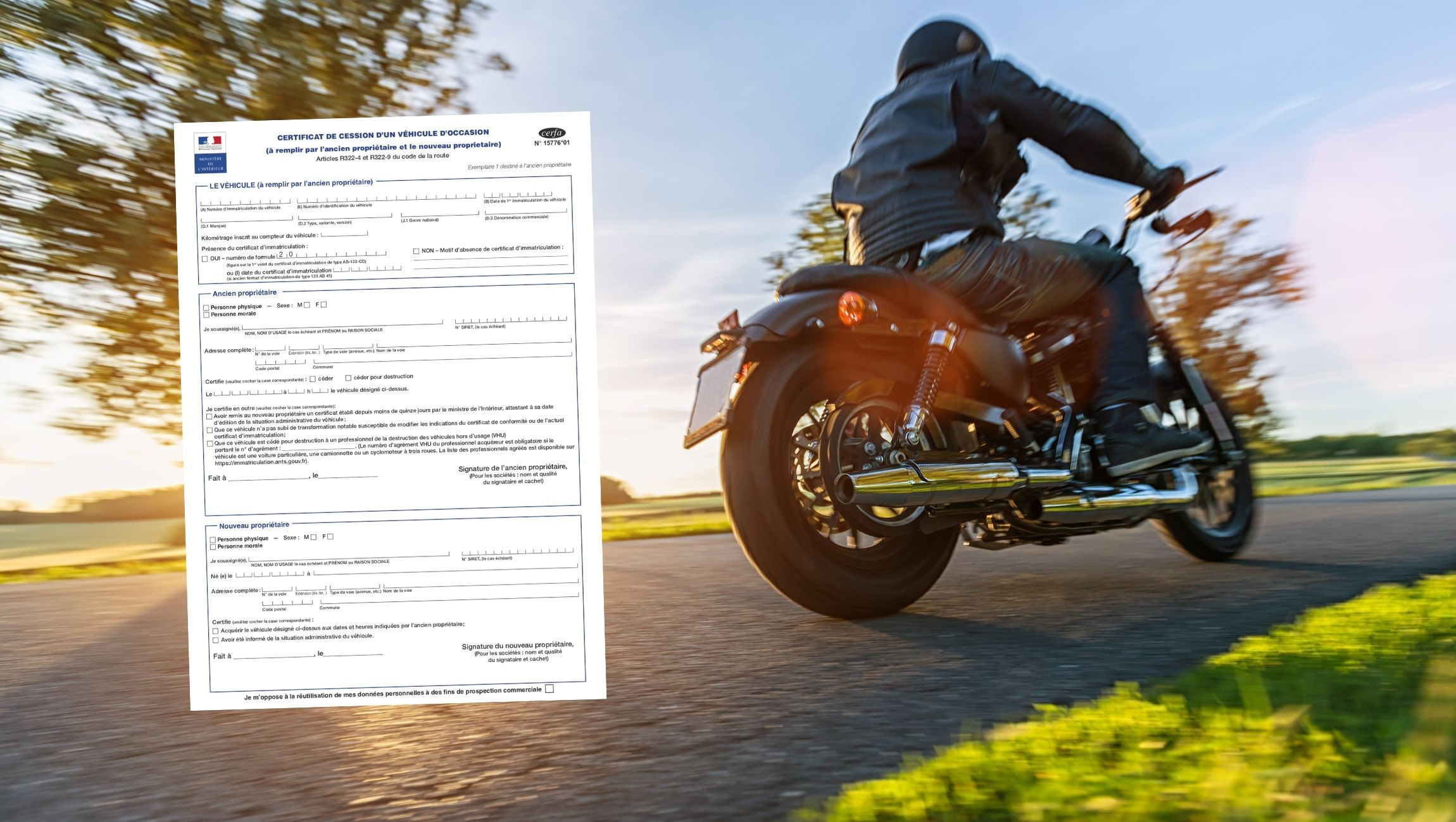 Certificat de cession moto