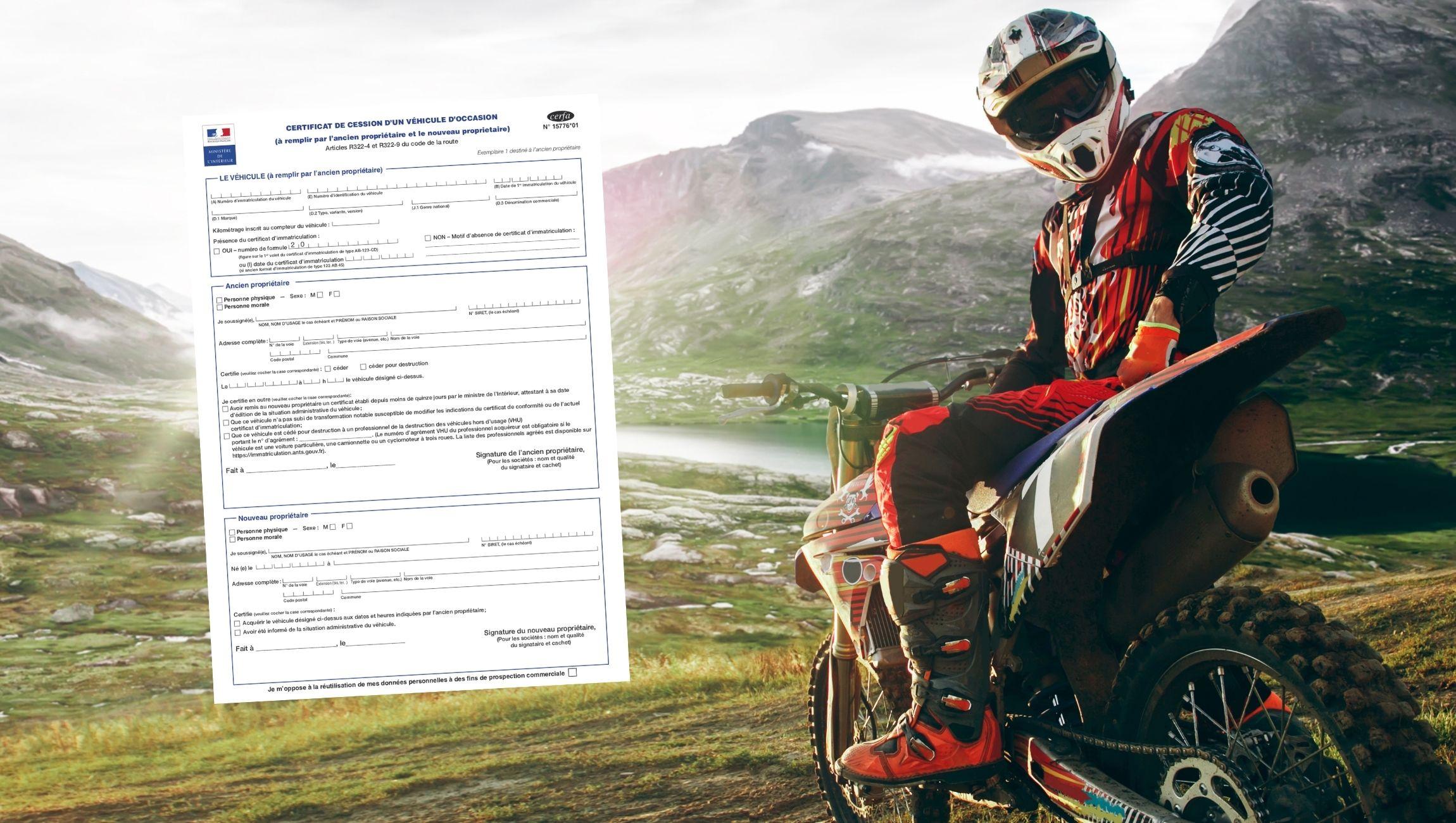 Certificat de cession moto cross