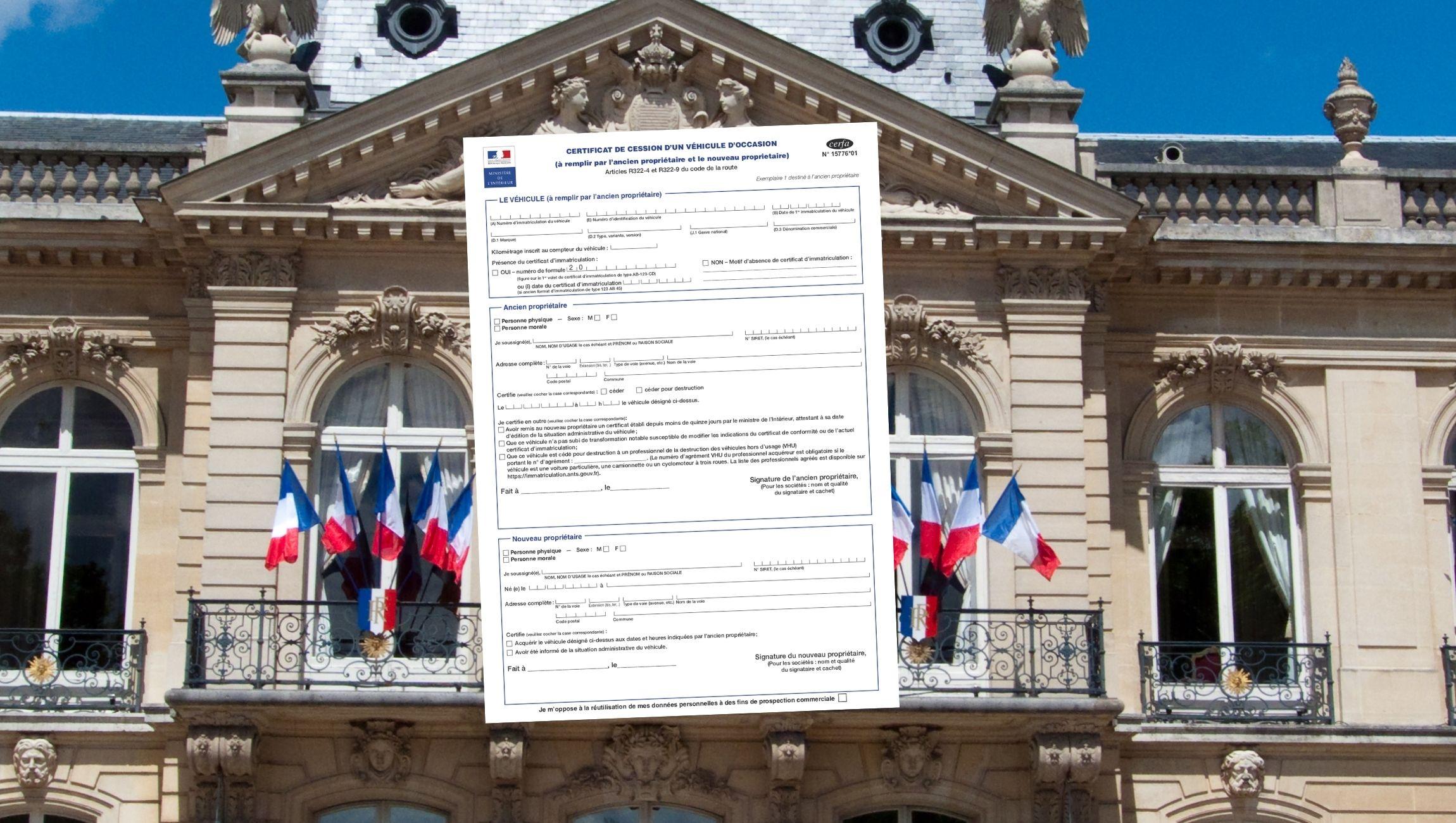 Certificat de cession préfecture