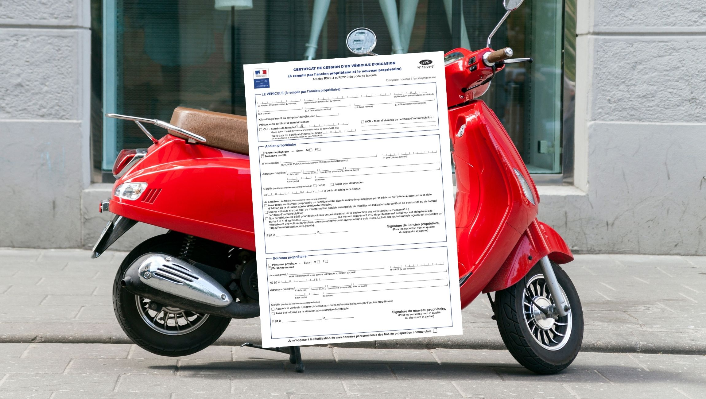 Certificat de cession scooter 50cc
