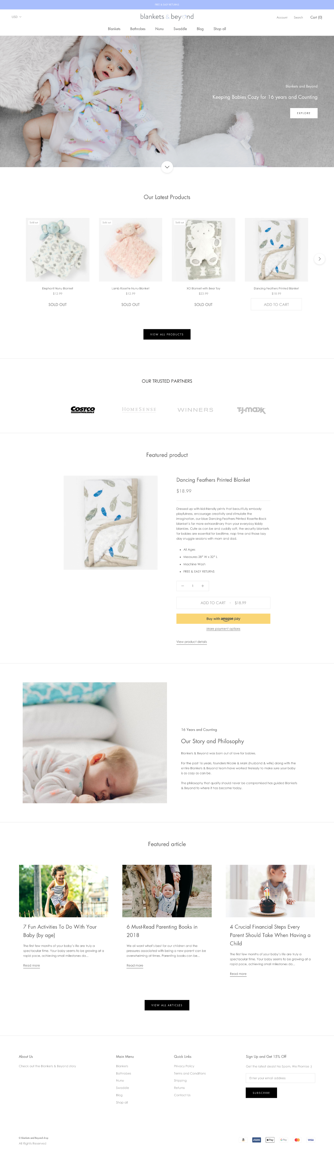 Blankets Ecommerce website from Vancouver