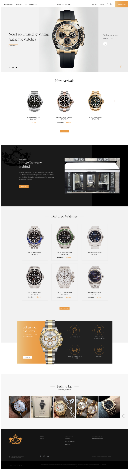 Shopify Website for Timeless watches