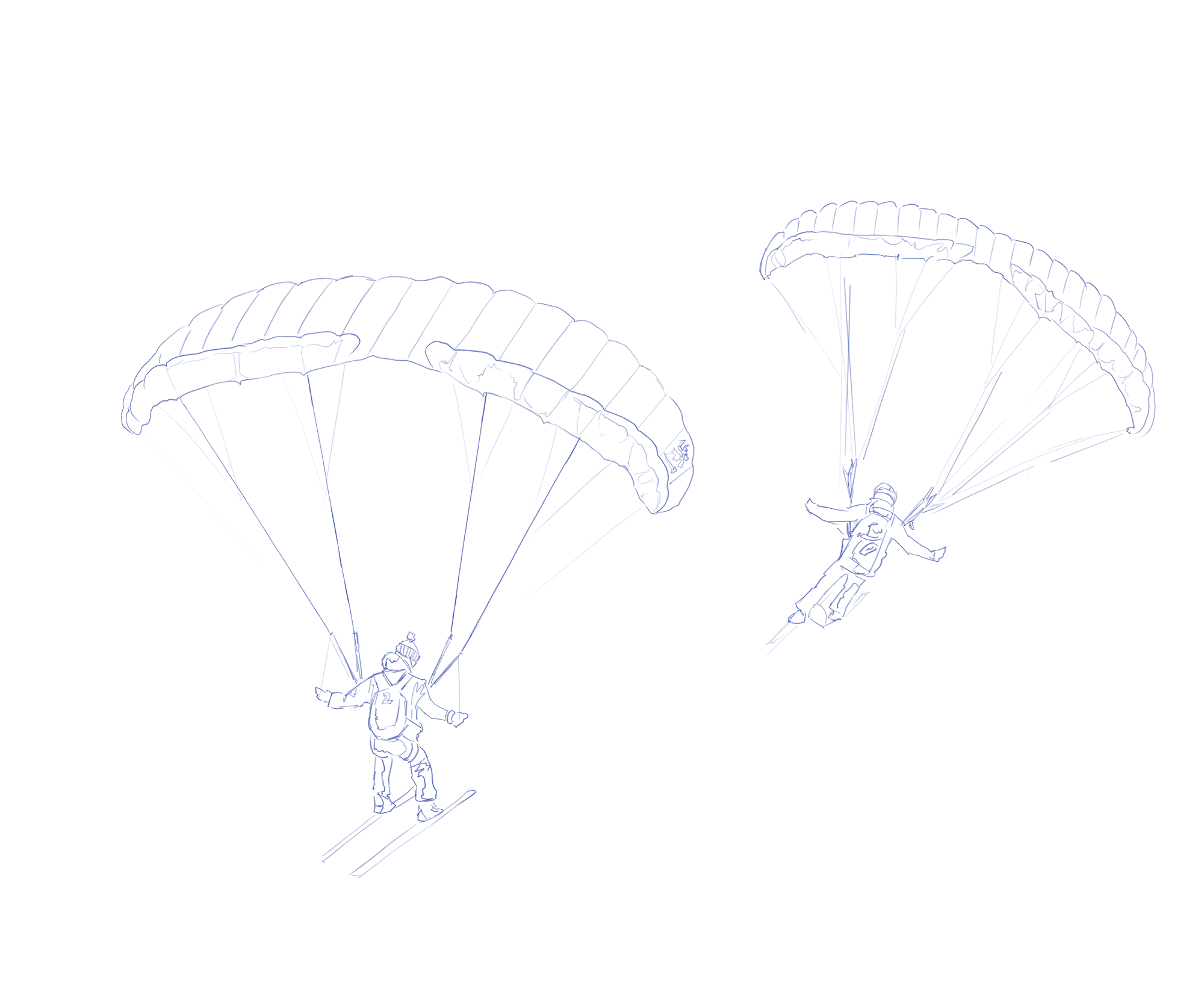 Some sketched ski fliers which follow the mouse movement as you move your cursor