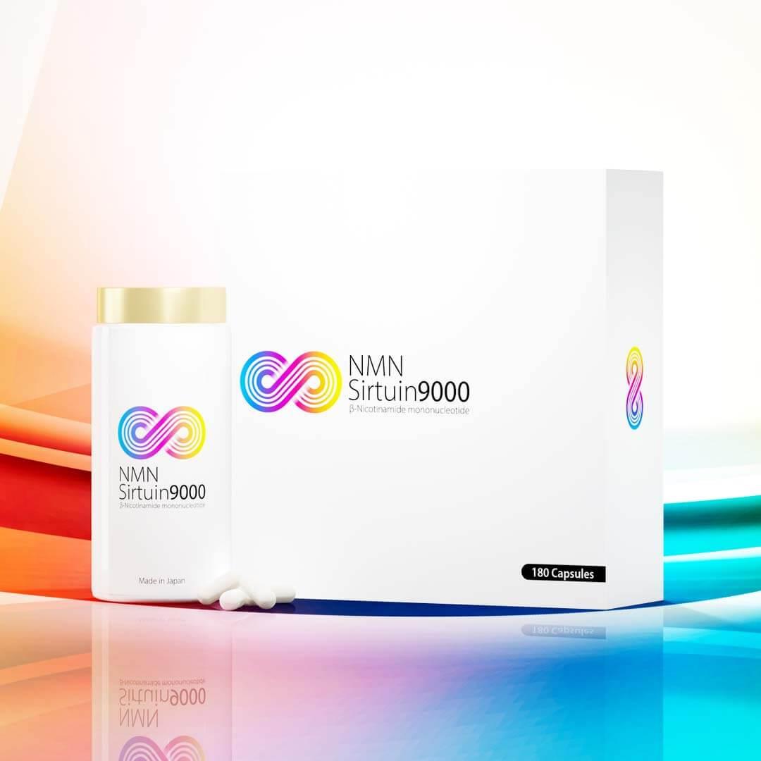 NMN Sirtuin 9000のボトルと箱の商品画像