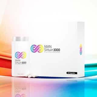 NMN Sirtuin 3000のボトルと箱の商品画像