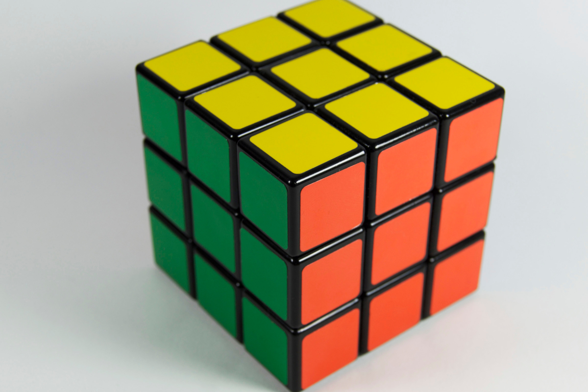 This is a Rubik cube representing critical thinking and its value and need in relationships and sexuality education by Life Connections Ireland