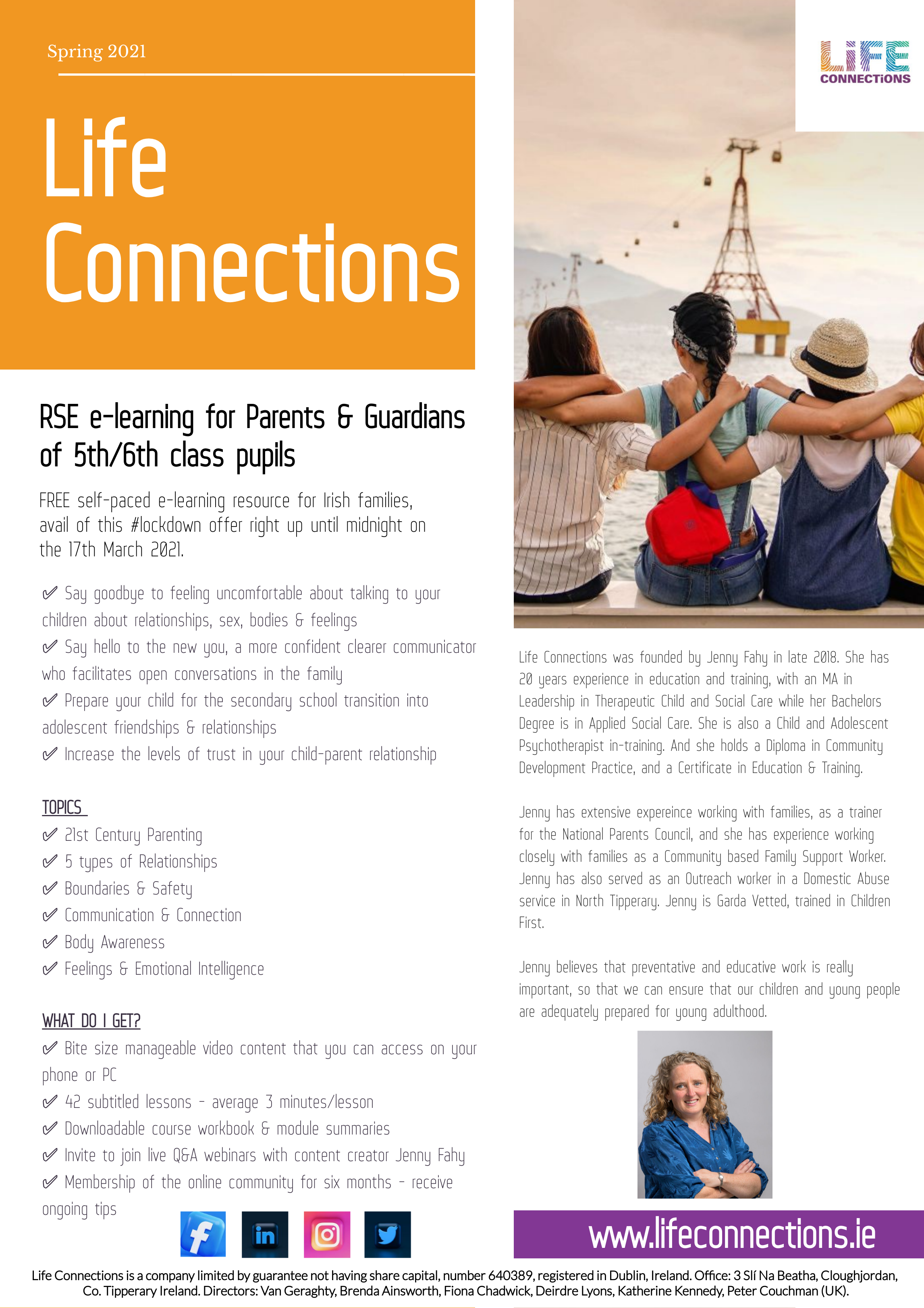 Leaflet with text and pictures explaining what is offered in the e-learning relationships and sexuality education resource for parents and guardians of 10 to 12 year olds by Life Connections Ireland