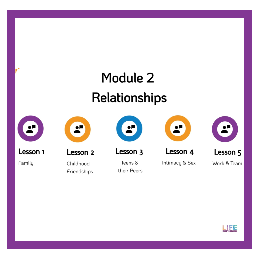 Description of module 2 about the 5 types of Relationships discussed in the Life Connections RSE e-learning resource for parents and guardians of 10 to 12 year old children in Ireland