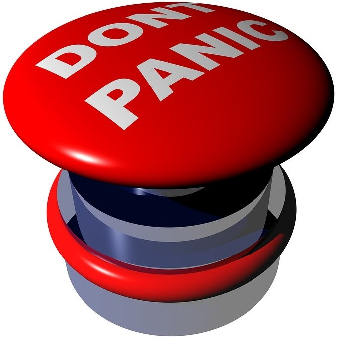 graphic image of big red don't panic button