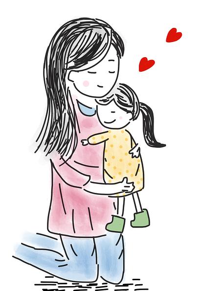 cartoon image of woman kneeling and hugging a little girl