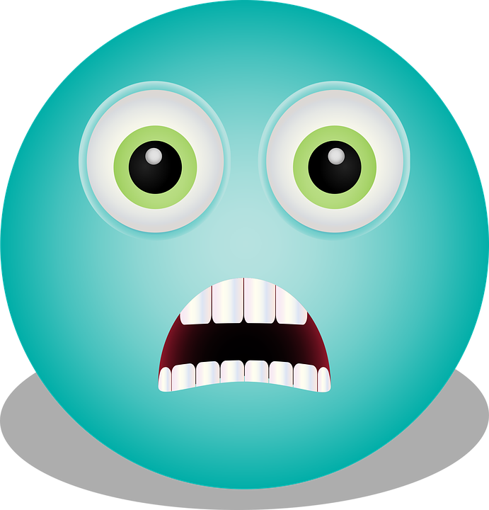 cartoon blue emoji with shocked expression