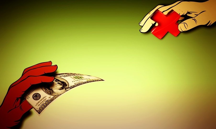 cartoon image of hands trading cash for services.
