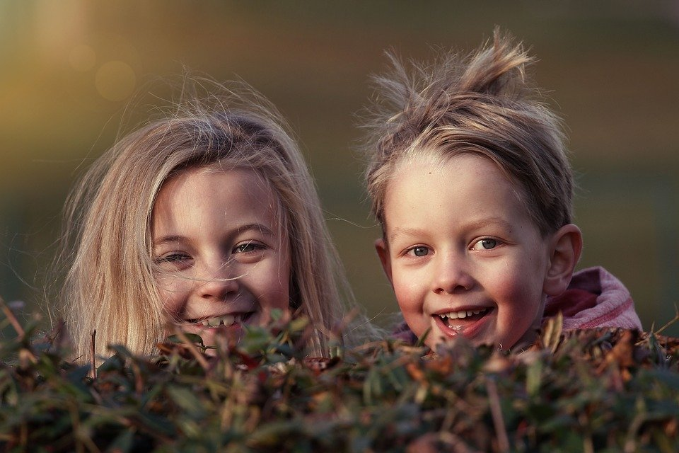 two children with messy hair peeking over a hedge.