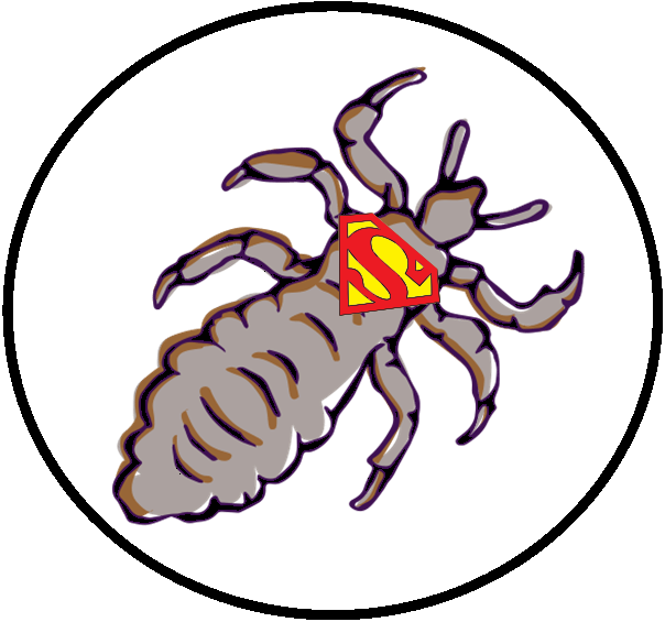 cartoon lice louse with a super hero logo on thorax chest