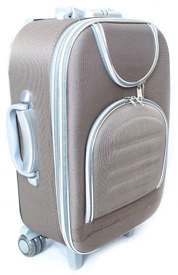 grey white and blue rolling suitcase.