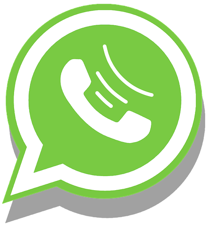 graphic image of phone in green chat bubble whatsapp app logo.