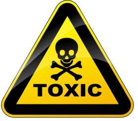 """yellow and black triangle with skull and crossbones and word """"toxic"""""""