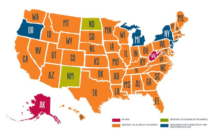 Map of united states showing all but 6 states reporting 100% of lice samples showed pesticide resistance