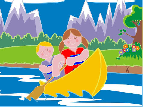 cartoon of summer camp kids rowing a canoe on a lake