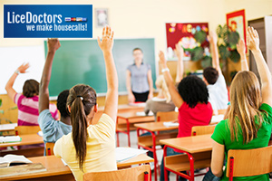 Students raising their hands - LiceDoctors