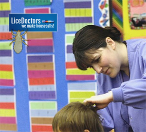 Lice Technician Checking Child for Lice