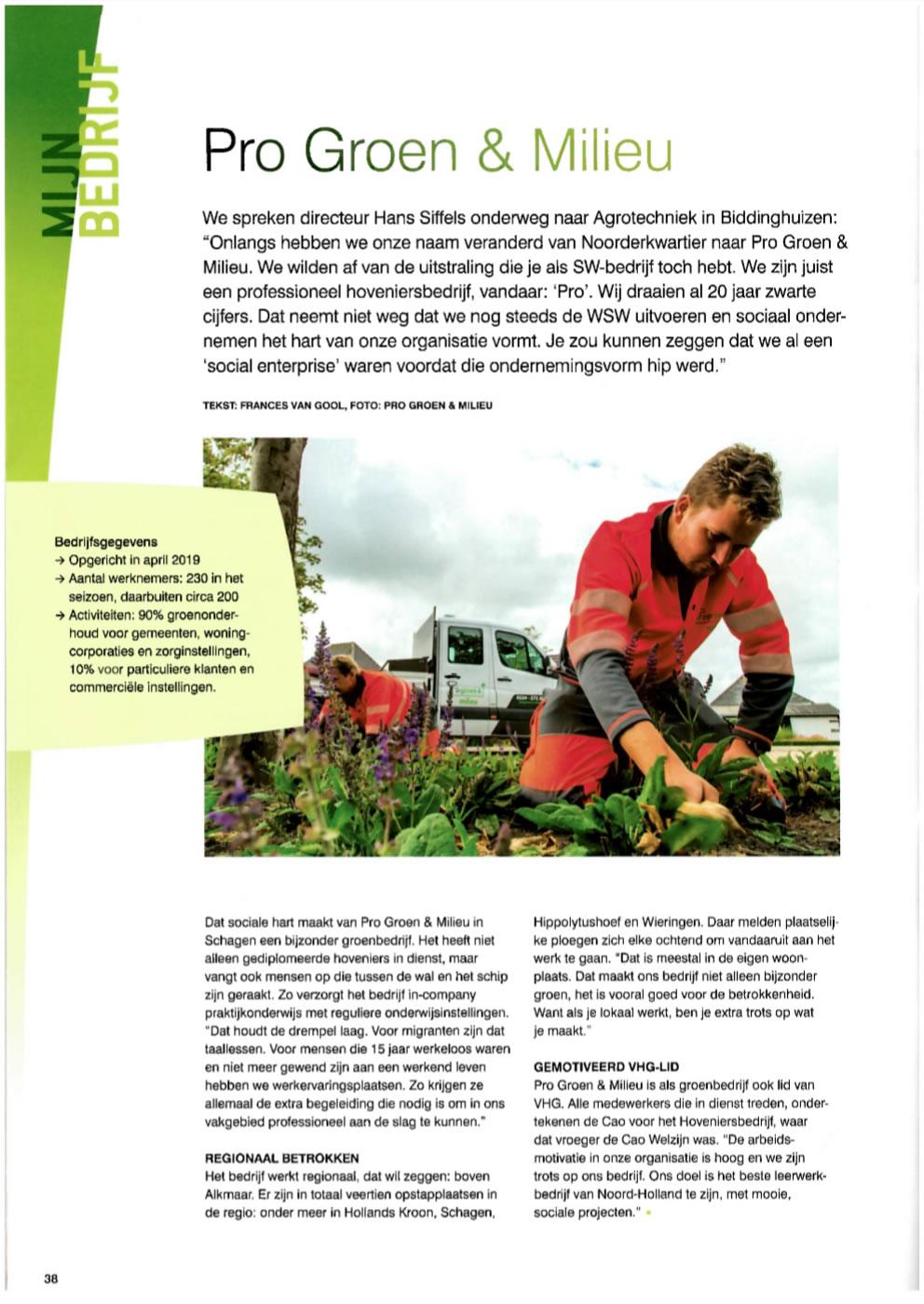 VHG Magazine 'Mijn Bedrijf' Progroen & milieu