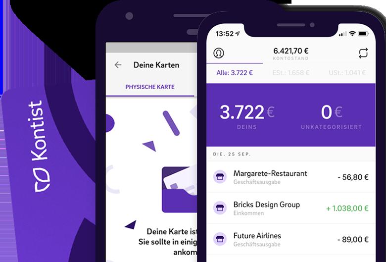 Illustration virtuelle Kreditkarte und Kontostand mit Kontist App