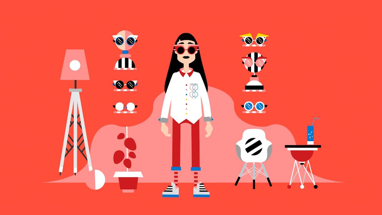 Grafik einer Frau mit Sonnenbrille und verschiedener Dekoration