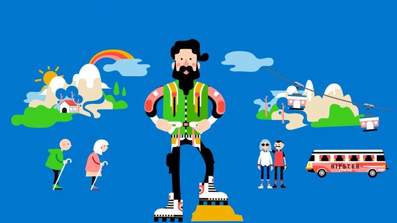 Illustration eines Bergsteigers