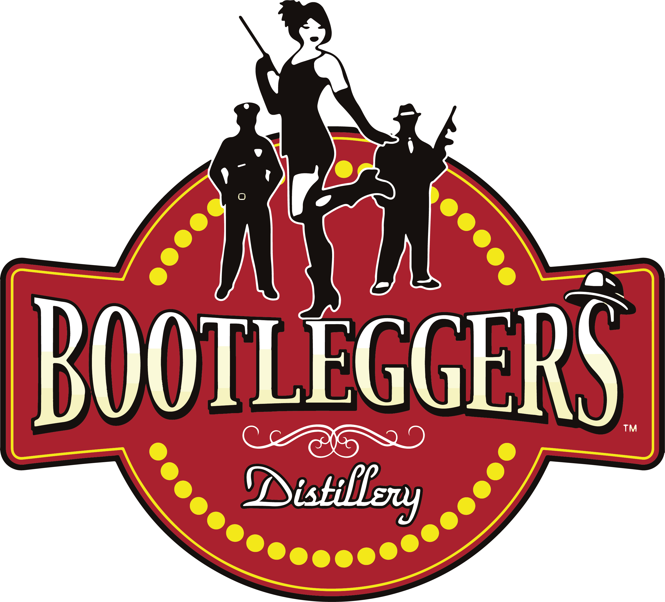 Bootlegers Distillery Logo: home of the authentic moonshine and whiskey. home made