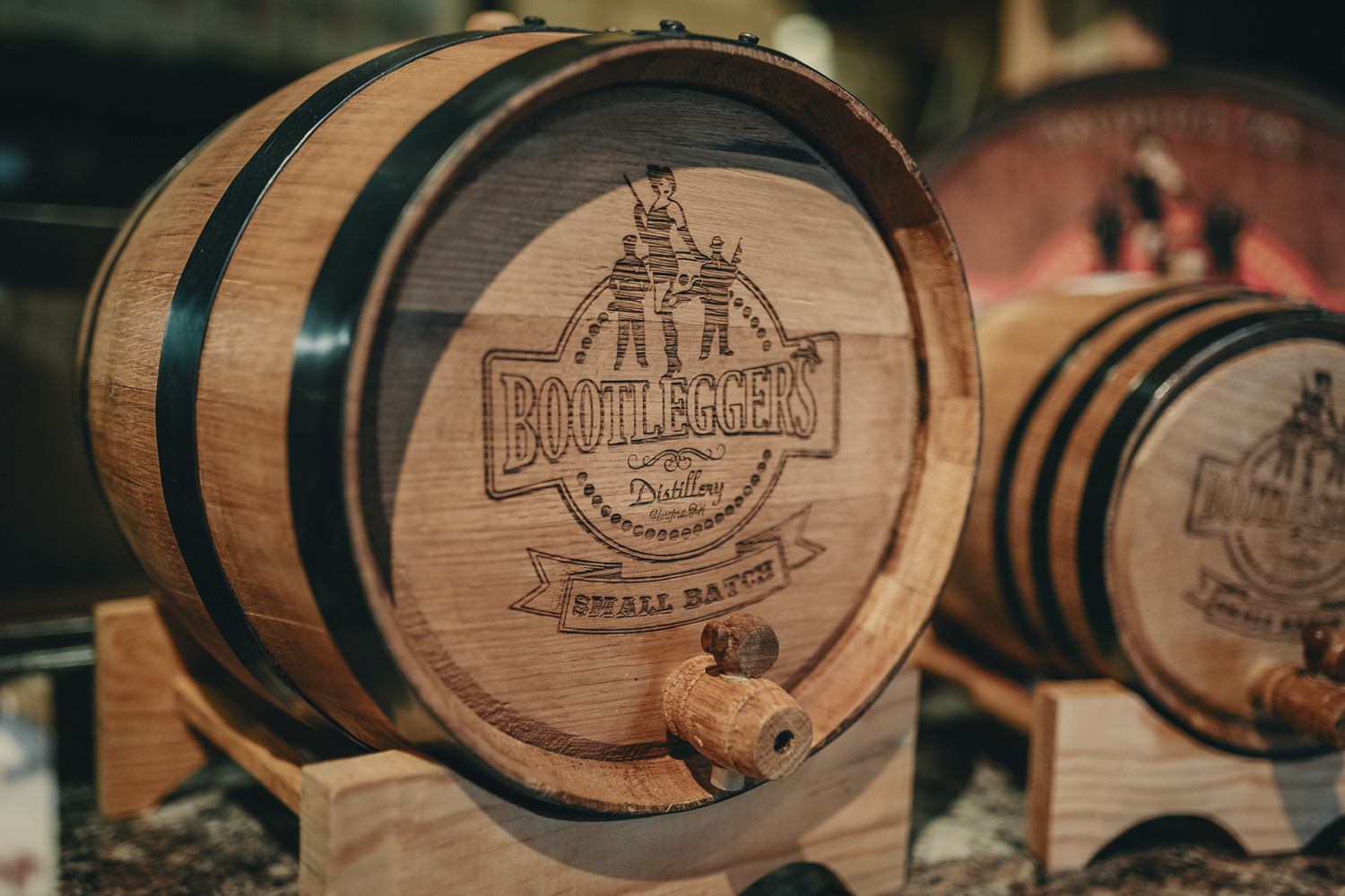 bootleggers distillery barrel of whiskey home made custom moonshine