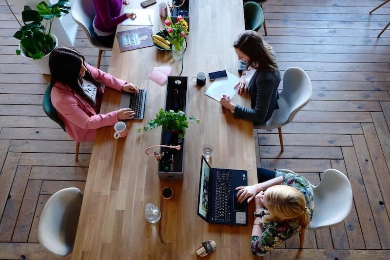 Women working in coworking space