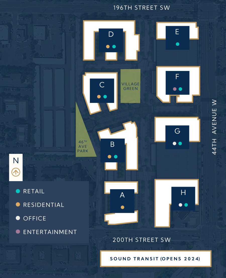 Northline Village site plan with retail, residential, offices, and entertainment space.
