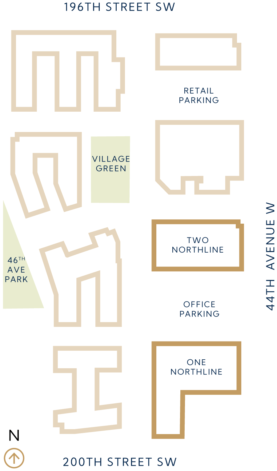 Site map of office space options available at Northlive Village