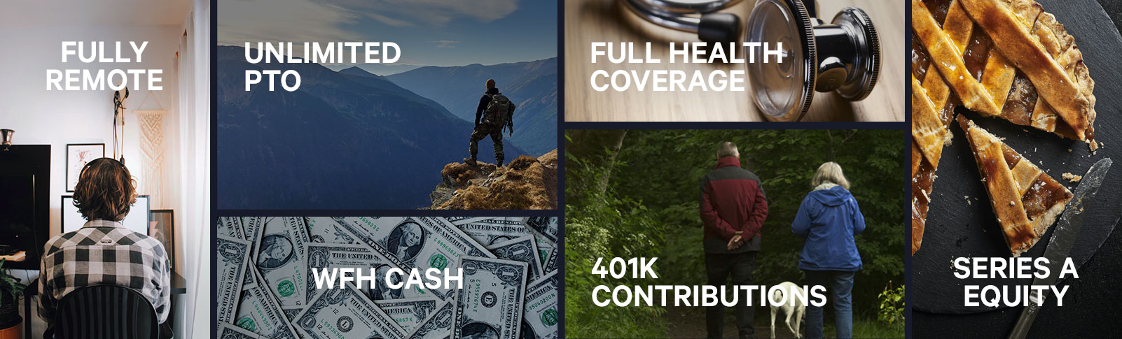 Rasgo Benefits include: Fully Remote, Unlimited PTO, Full Health Coverage, WFH Cash, 401K Contributions, & Series A Equity