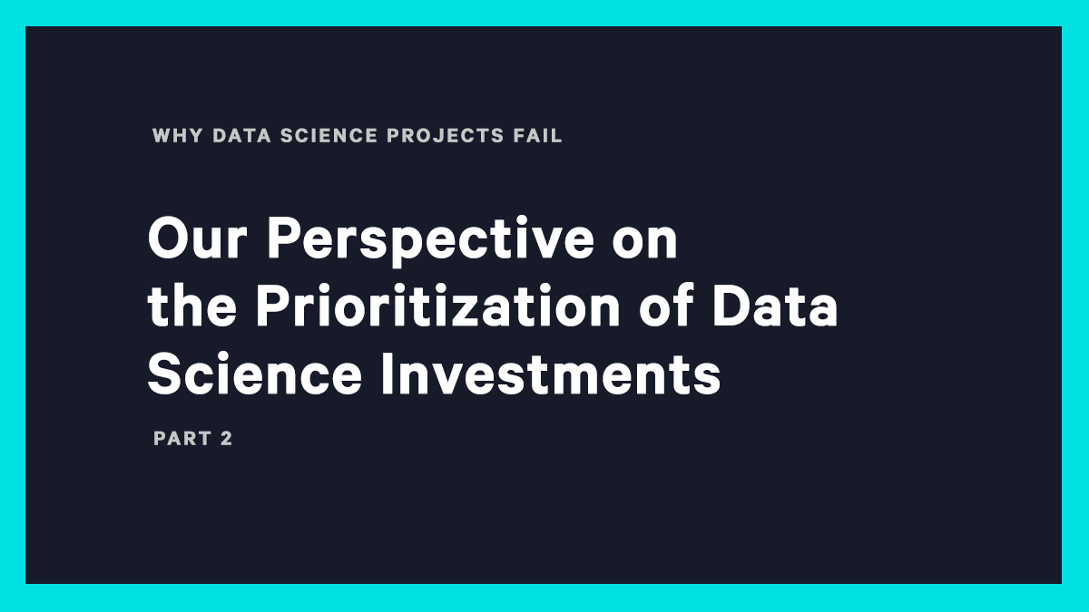 Our Perspective on the Prioritization of Data Science Investments: Part 2