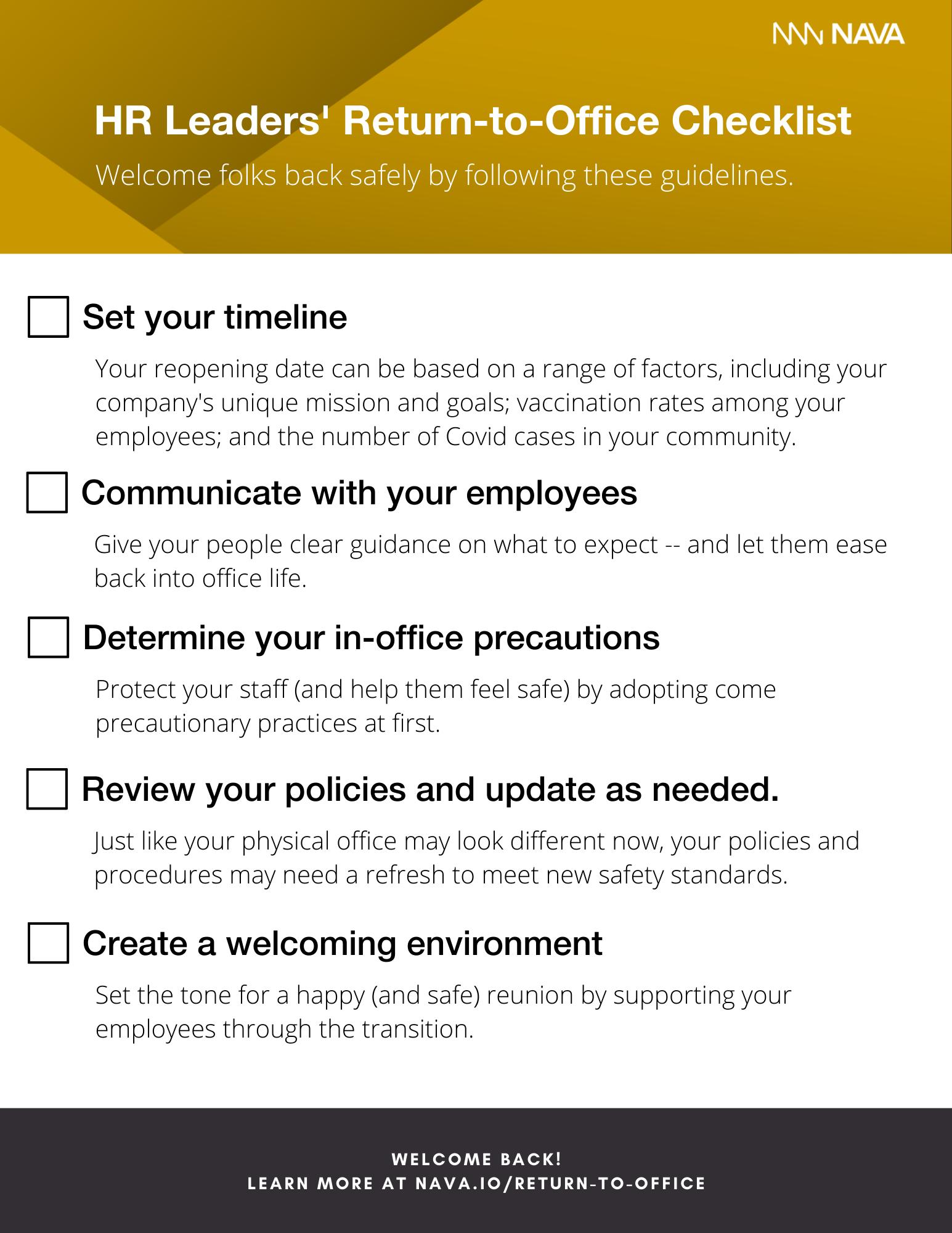 HR Leaders' Return-to-Office Checklist