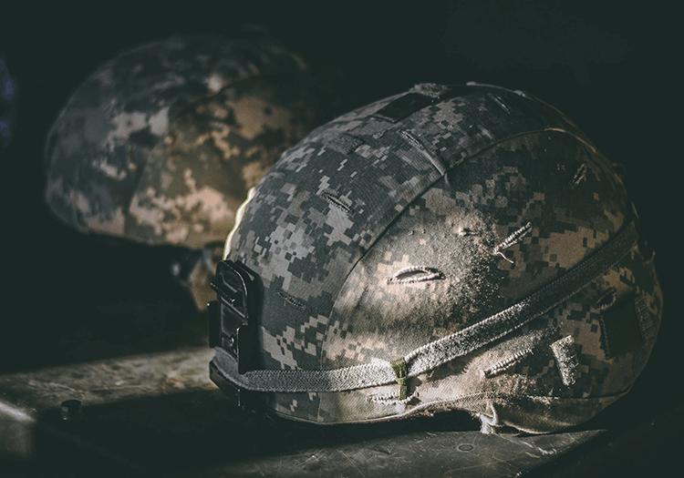 Image of a military camo helmet