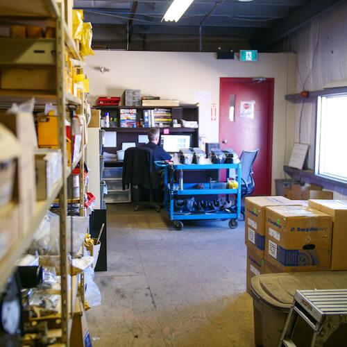 Parts supply room at Adrenaline Diesel