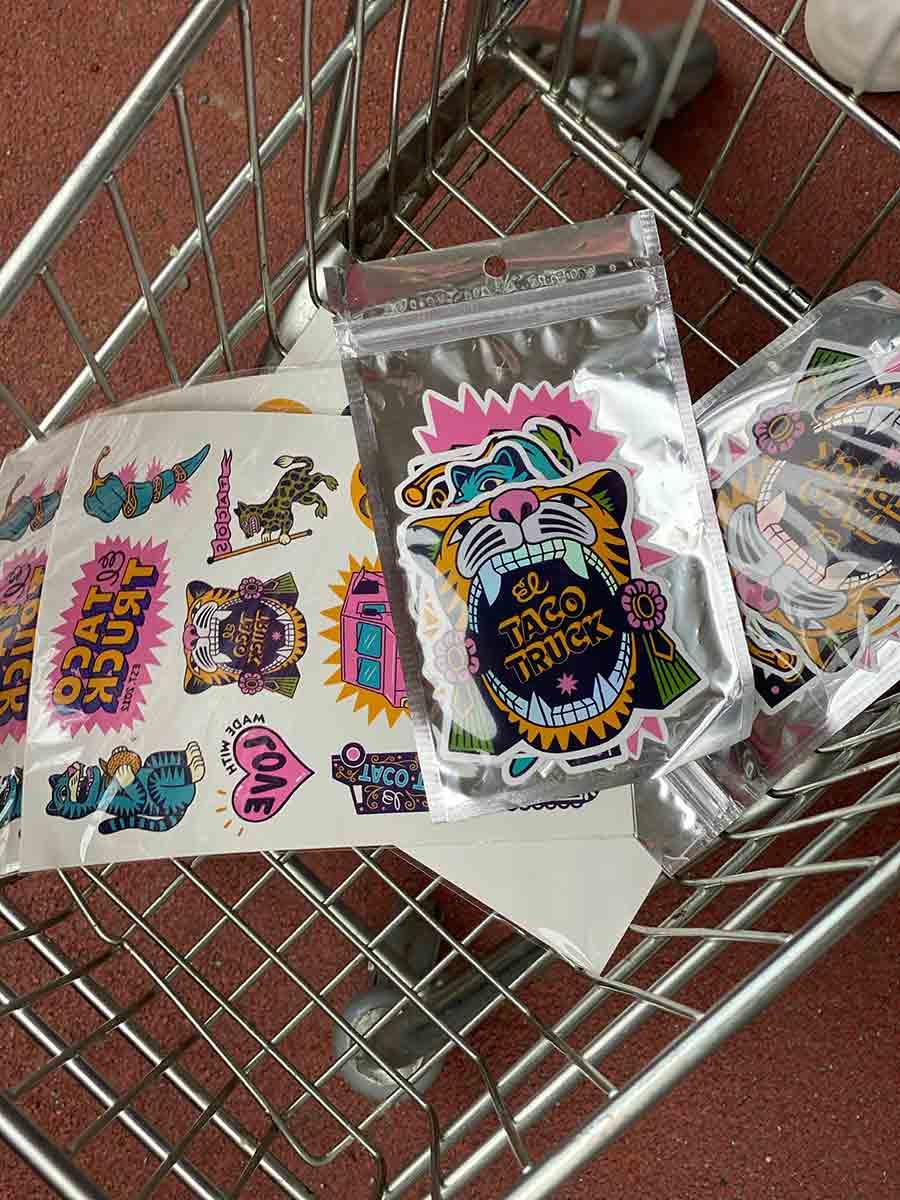 Färgglada stickers från El Taco Truck kundvagn