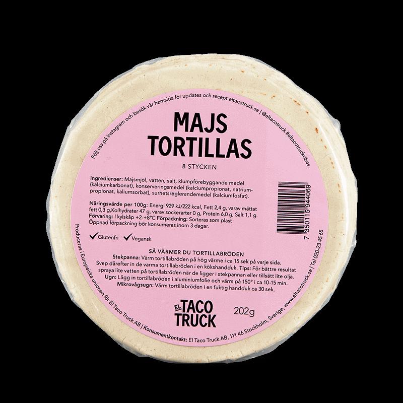 Förpackning med El Taco Truck's glutenfria och mjuka tortillas gjorda på majs istället för vete. 8st tortillas per paket.