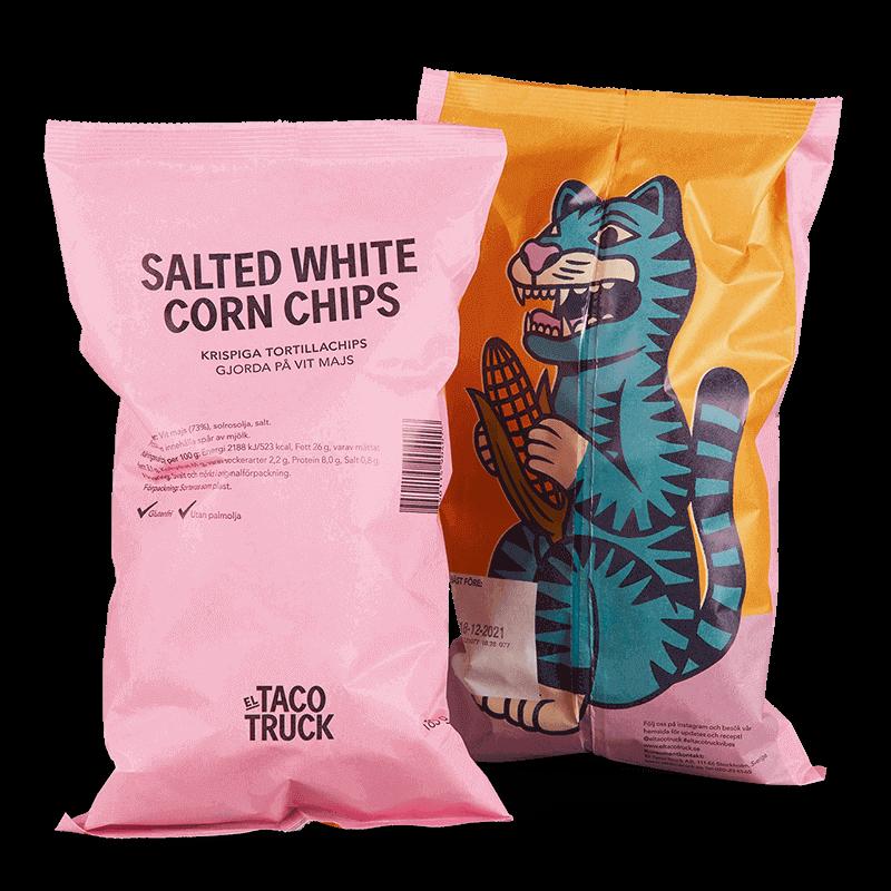 Påsar med El Taco Truck's krispiga, saltade tacochips med lite grövre karaktär gjorda på vit mald majs. Glutenfria och veganska tortillachips.